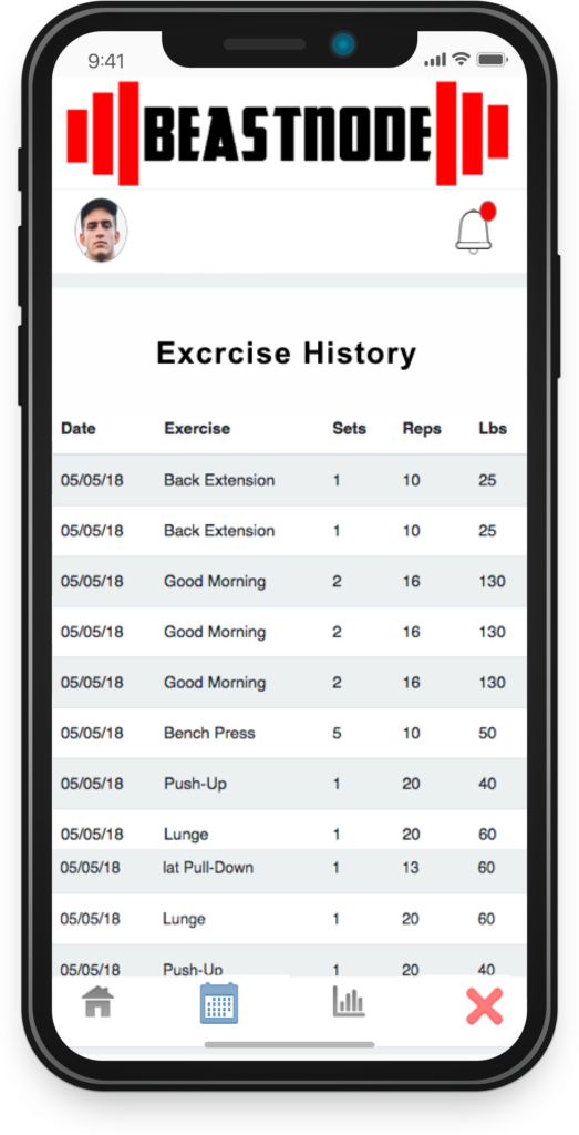 Updated Exercise History Screen