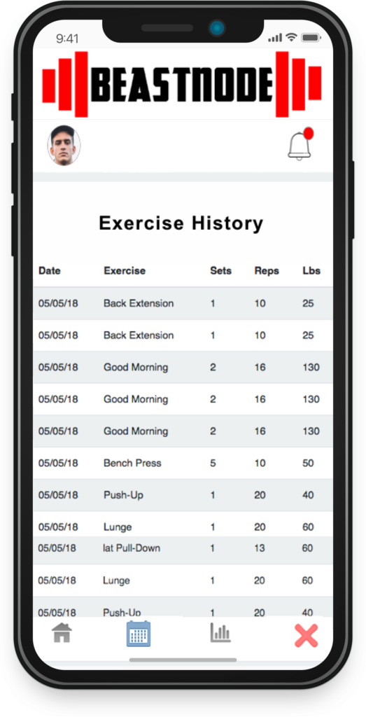 BeastNode Updated Exercise History